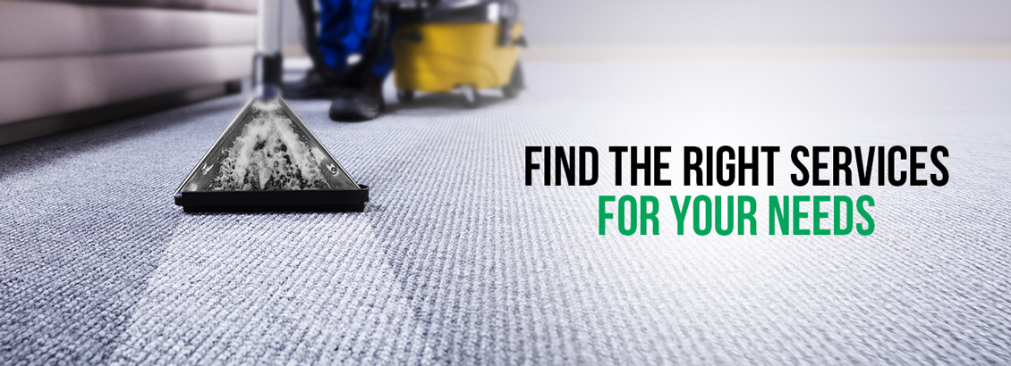 A Floor Being Vacuumed With Text Reading, 'Find The Right Services for Your Needs